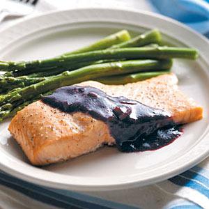 Cedar Plank Salmon with Blackberry Sauce Recipe