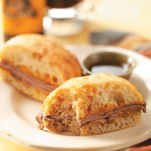 Cheddar French Dip Sandwiches Recipe