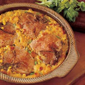 Baked Pork Chops with Corn Dressing Recipe
