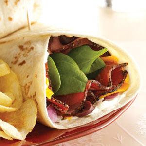 Spinach Pastrami Wraps for 2 Recipe