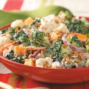 Festive Broccoli-Cauliflower Salad Recipe