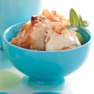 Buttermilk Bread Pudding with Caramel Creme Fraiche Recipe