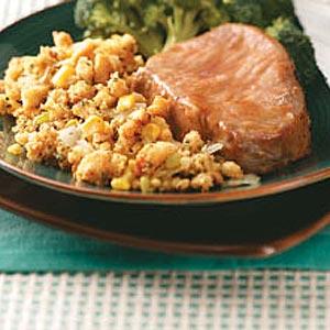 Glazed Pork Chops with Corn Bread Dressing Recipe