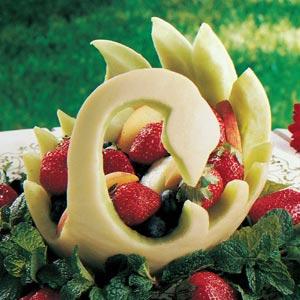 Melon Swan Fruit Bowl Recipe