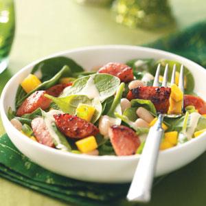 Smoked Sausage-Spinach Salad Recipe