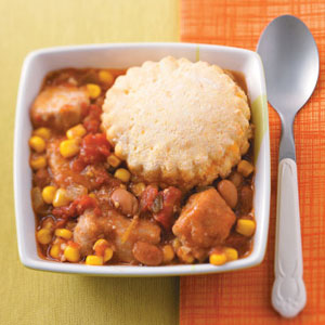 Southwestern Potpie with Cornmeal Biscuits Recipe