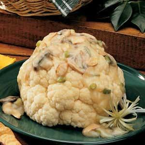 Cauliflower with Mushroom-Almond Sauce Recipe