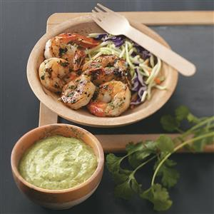 Grilled Shrimp with Cilantro Dipping Sauce Recipe