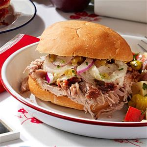 Grilled Shredded Pork Sandwiches Recipe