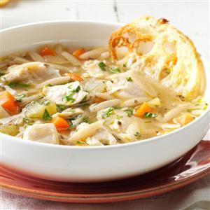 Mediterranean Chicken Orzo Soup Recipe