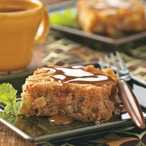 Fresh Apple Cake with Caramel Sauce