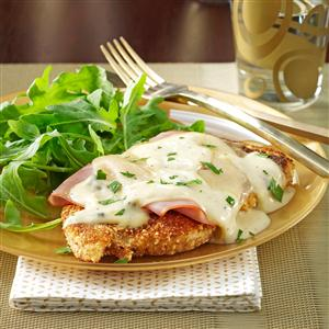 Chicken Corden Bleu with Mushroom Sauce and Rice Recipe