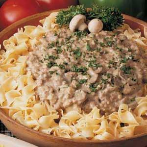 Hamburger Stroganoff with Poppy Seed Noodles Recipe