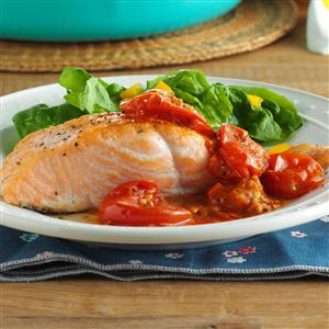 Pan-Roasted Salmon with Cherry Tomatoes Recipe