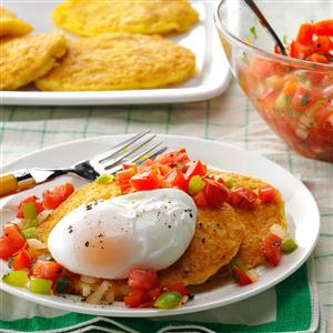 Corn Cakes with Poached Eggs Recipe