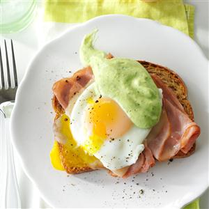 Southwestern Eggs Benedict with Avocado Sauce Recipe