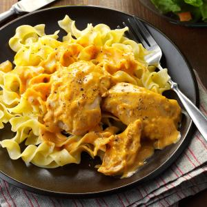 Creamy chicken thighs noodles recipe taste of home creamy chicken thighs noodles recipe forumfinder Images