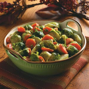 Buttery Carrots and Brussels Sprouts Recipe