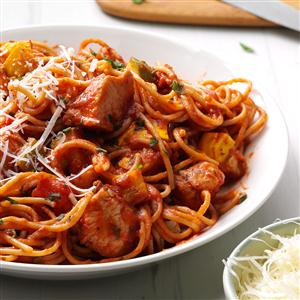 Italian Spaghetti with Chicken & Roasted Vegetables Recipe