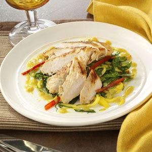 Island Chicken with Mango Slaw and Curry Sauce Recipe