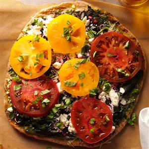 Grilled Pizza with Greens & Tomatoes Recipe