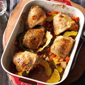 Maple-Roasted Chicken & Acorn Squash Recipe