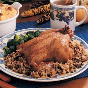 Cornish Hens with Rice Stuffing Recipe