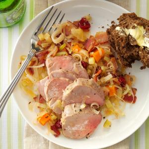 Pork Tenderloin with Cran-Apple Sauerkraut Recipe