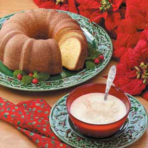 Eggnog Poundcake with Custard Sauce Recipe