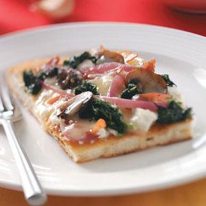Spinach, Mushroom & Three-Cheese Pizza Recipe