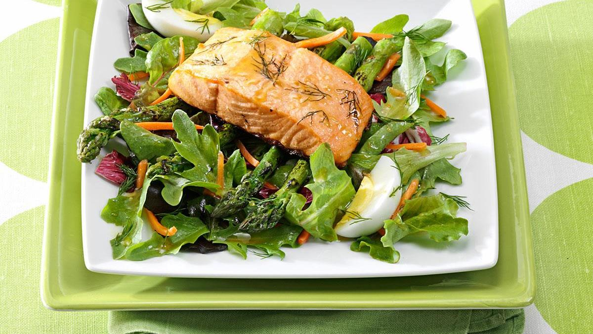 Asparagus Salad With Grilled Salmon Recipe How To Make It Taste Of Home