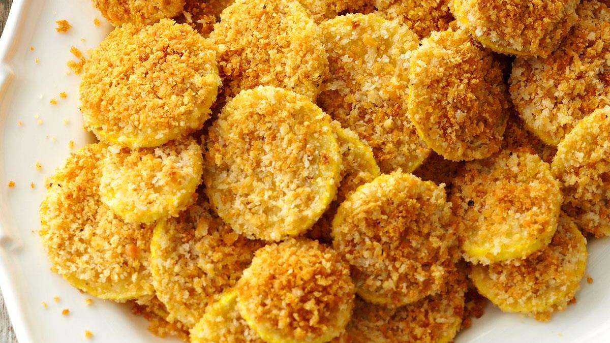 Baked Parmesan Breaded Squash Recipe How To Make It Taste Of Home