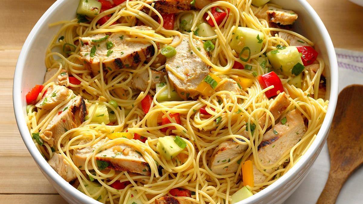 Chicken salad asian pasta