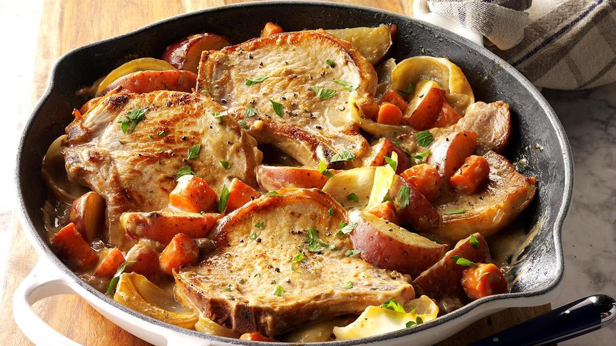 One Skillet Pork Chop Supper Recipe Taste Of Home