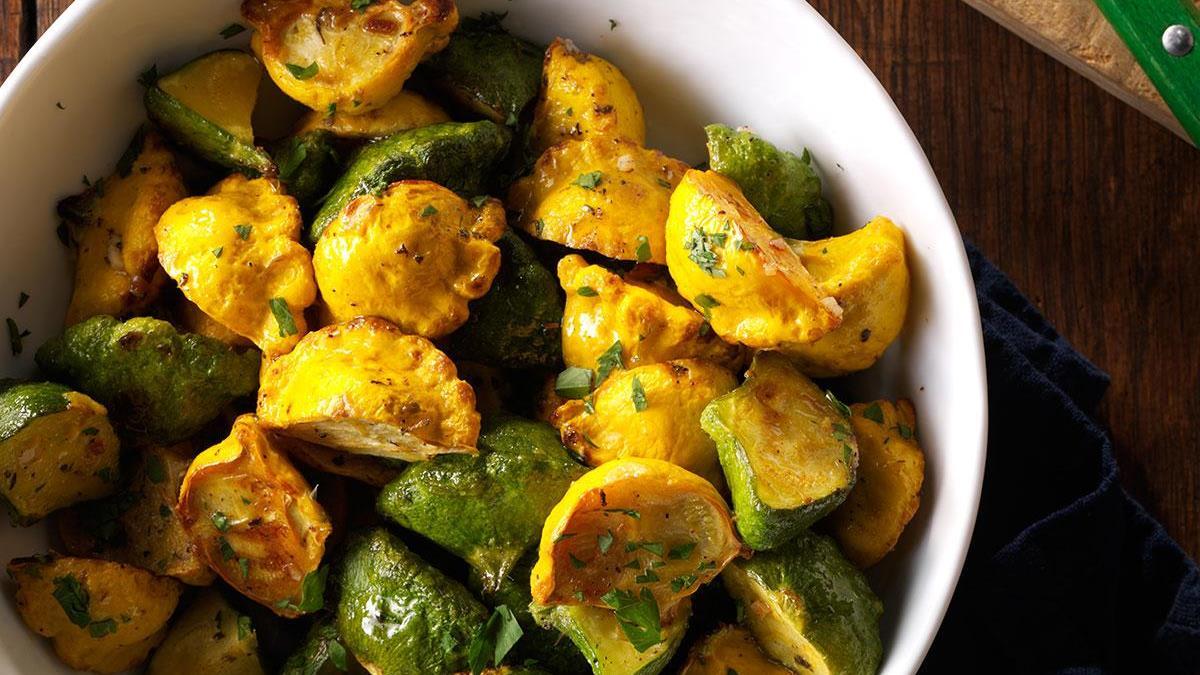 Garlic Herb Pattypan Squash Recipe How To Make It Taste Of Home