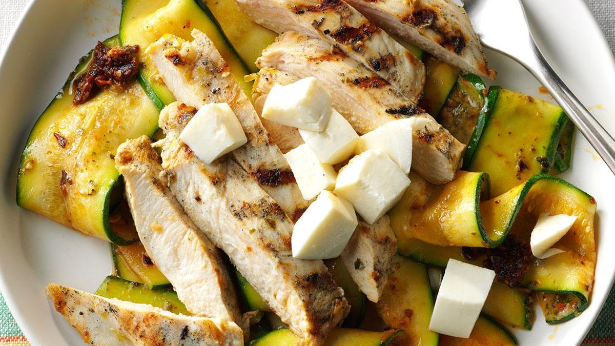 Garlic Grilled Chicken With Pesto Zucchini Ribbons Recipe How To Make It Taste Of Home