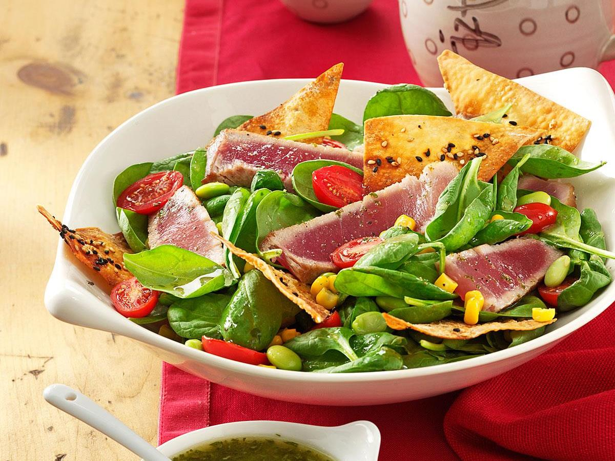 Dee S Grilled Tuna With Greens Recipe How To Make It Taste Of Home