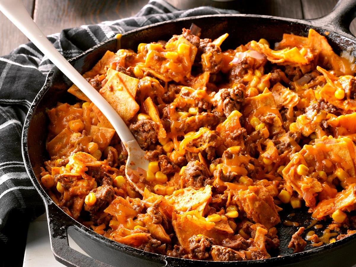 Easy Beef Taco Skillet Recipe Taste Of Home
