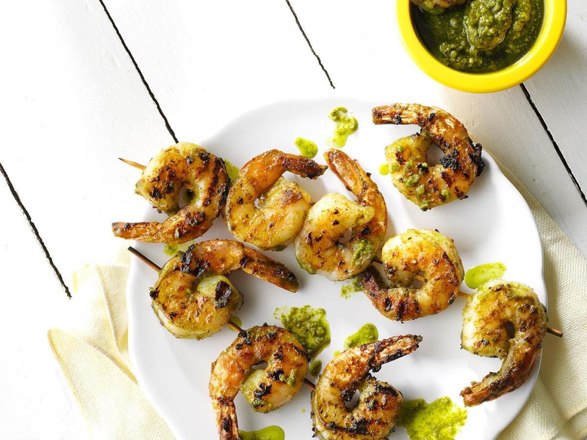 Grilled Pistachio-Lemon Pesto Shrimp