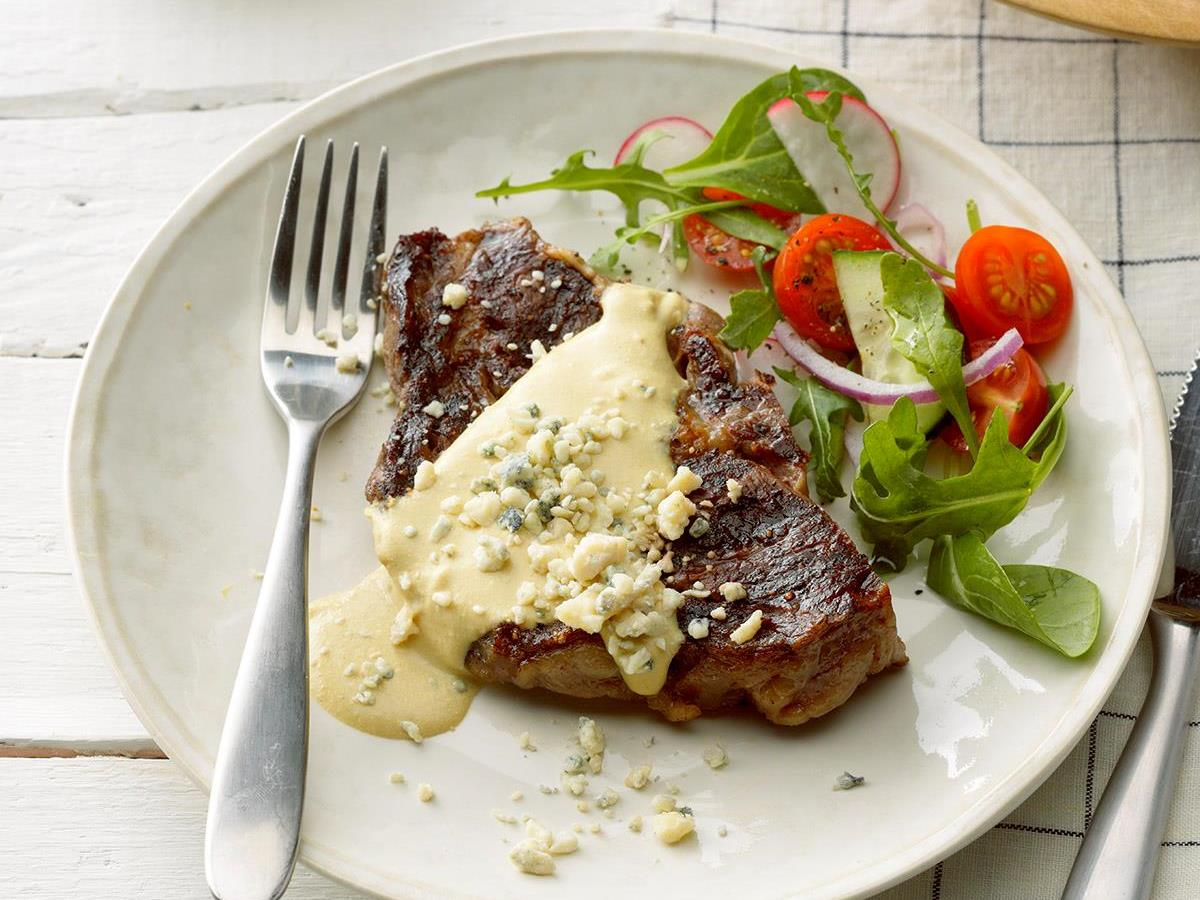 Grilled Ribeye with Garlic Blue Cheese Mustard Sauce