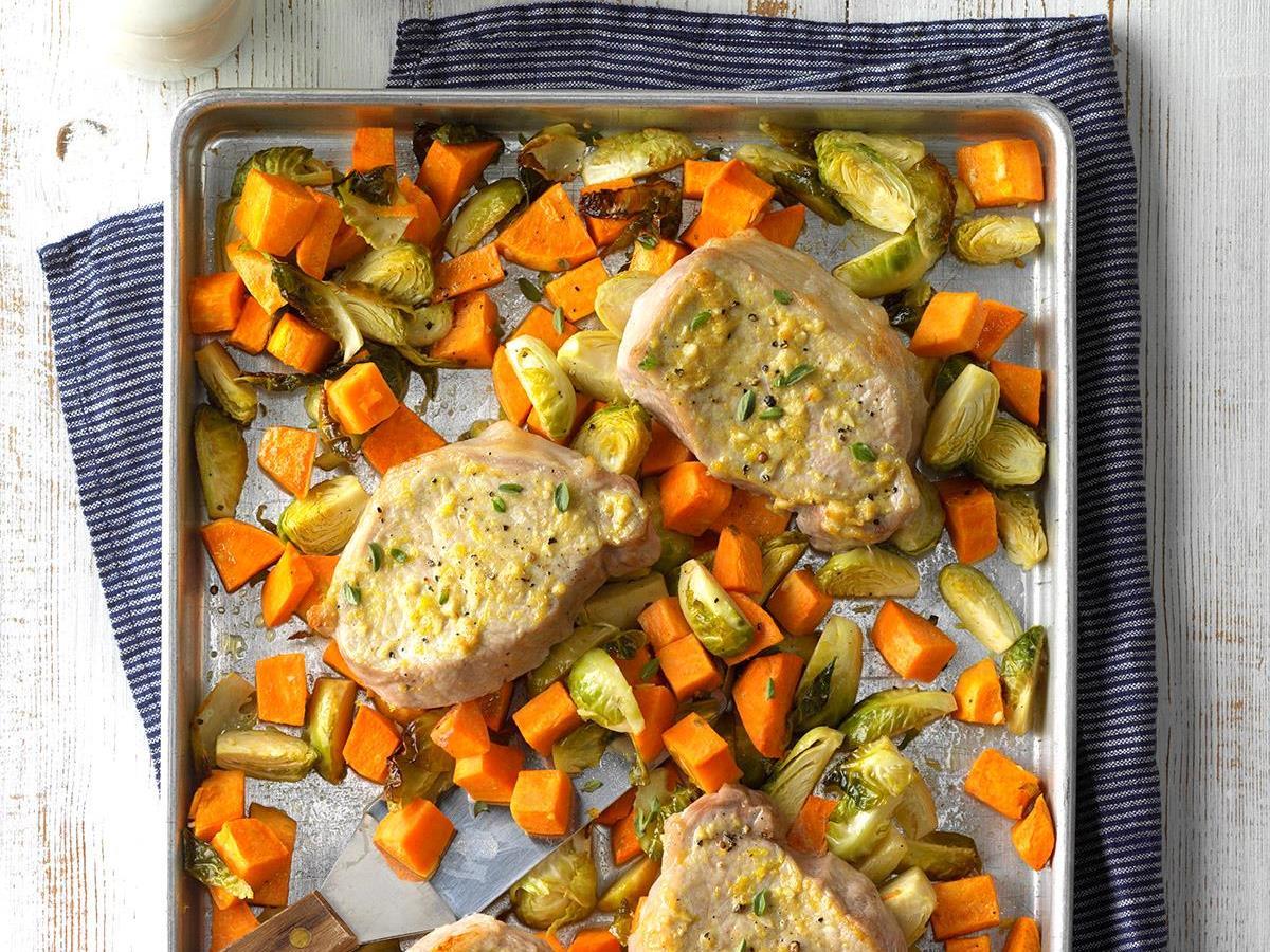 Lemon Dijon Pork Sheet Pan Supper