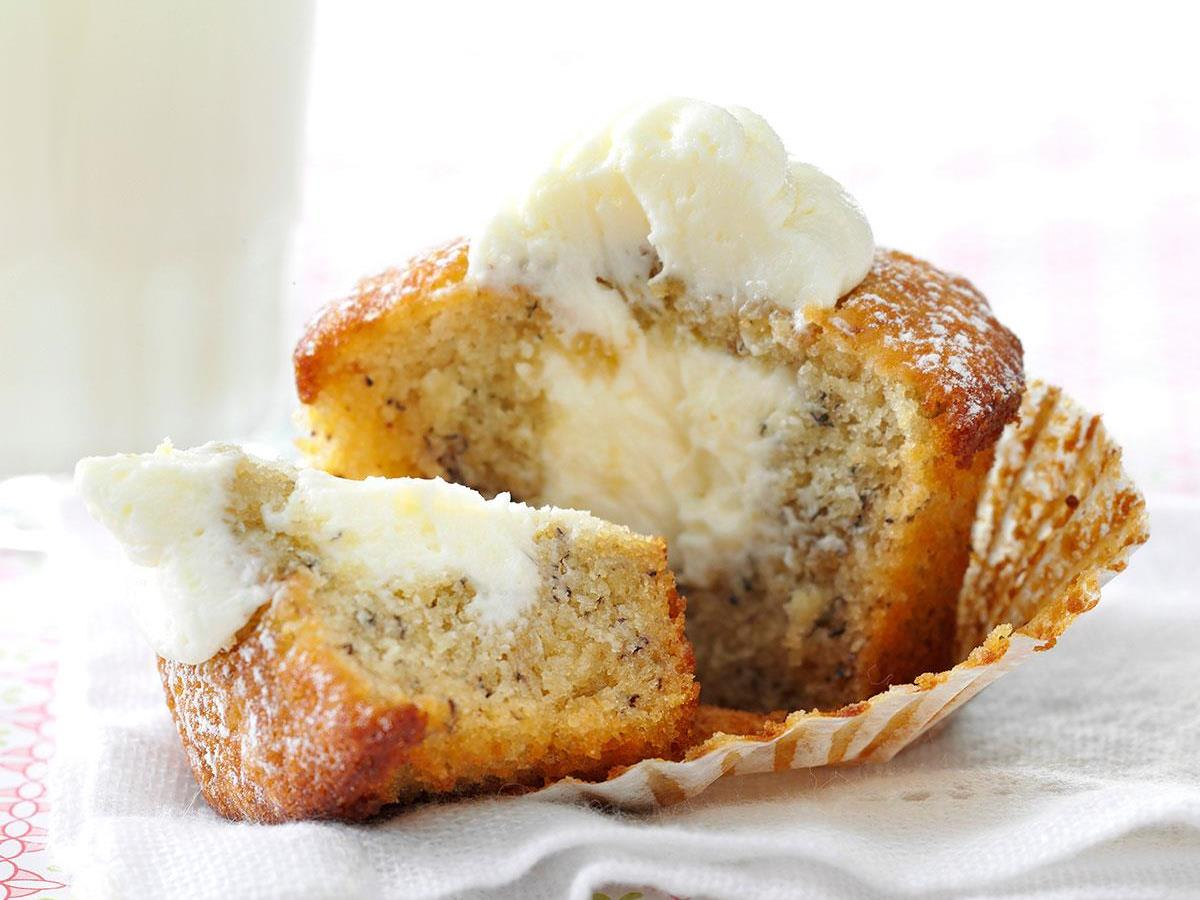 Marshmallow-Filled Banana Cupcakes