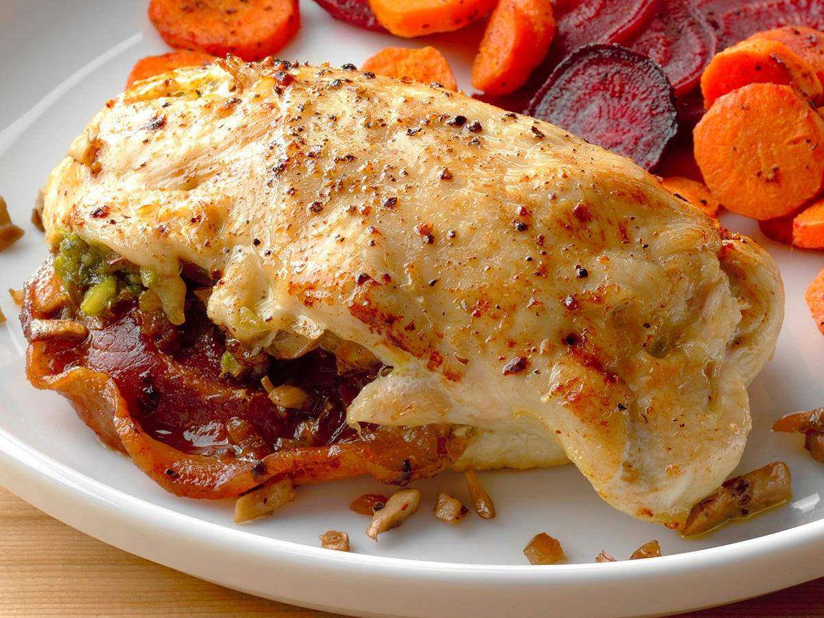 Pancetta and Mushroom-Stuffed Chicken Breast