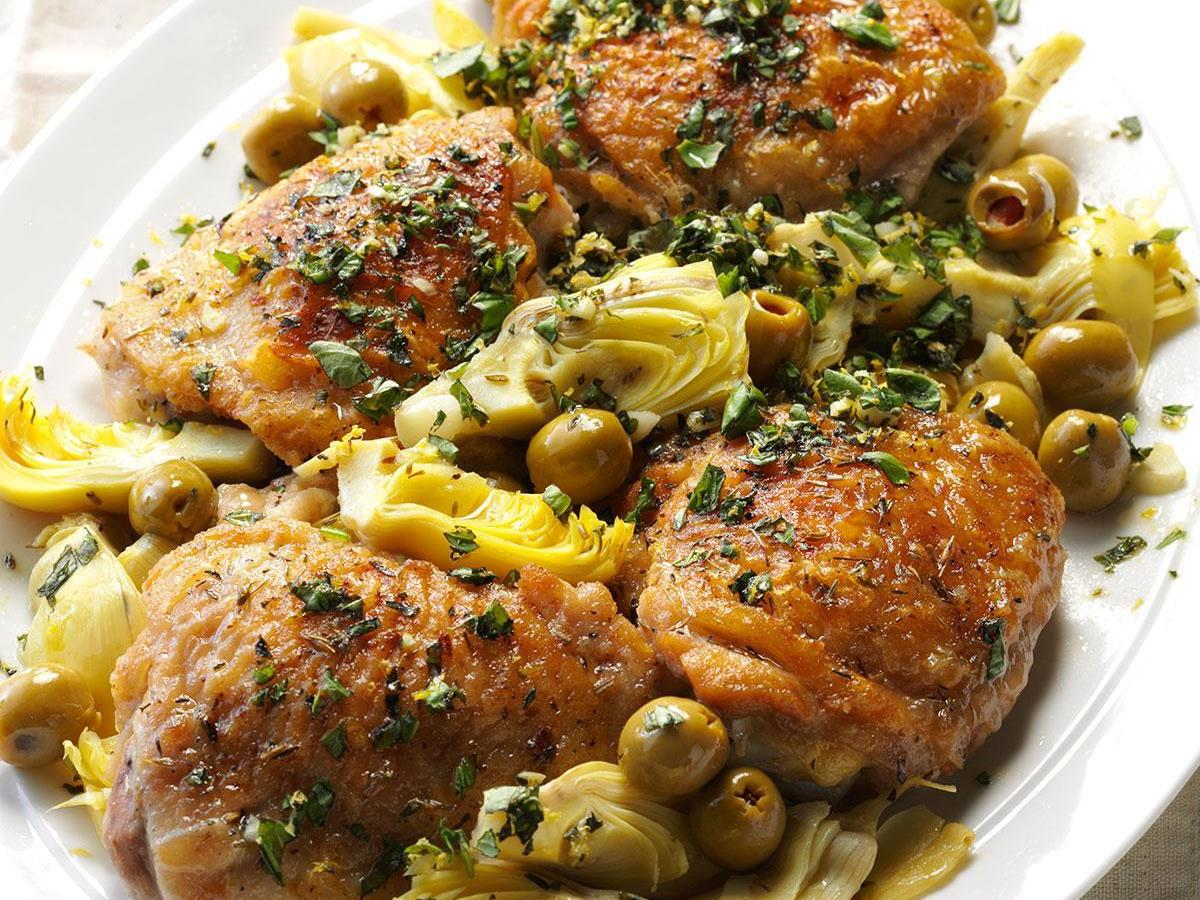 Pressure-Cooker Chicken with Olives & Artichokes