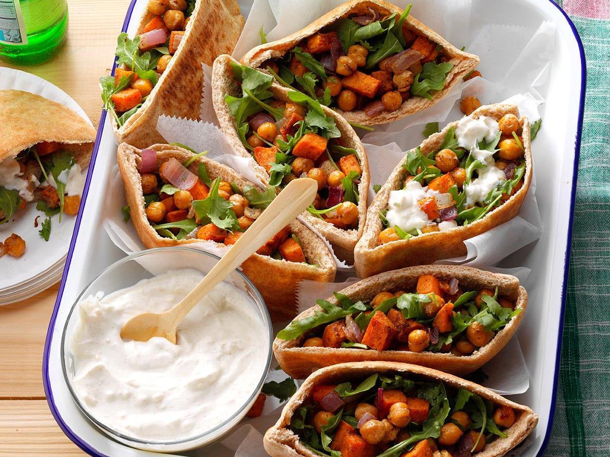 Roasted Sweet Potato & Chickpea Pitas