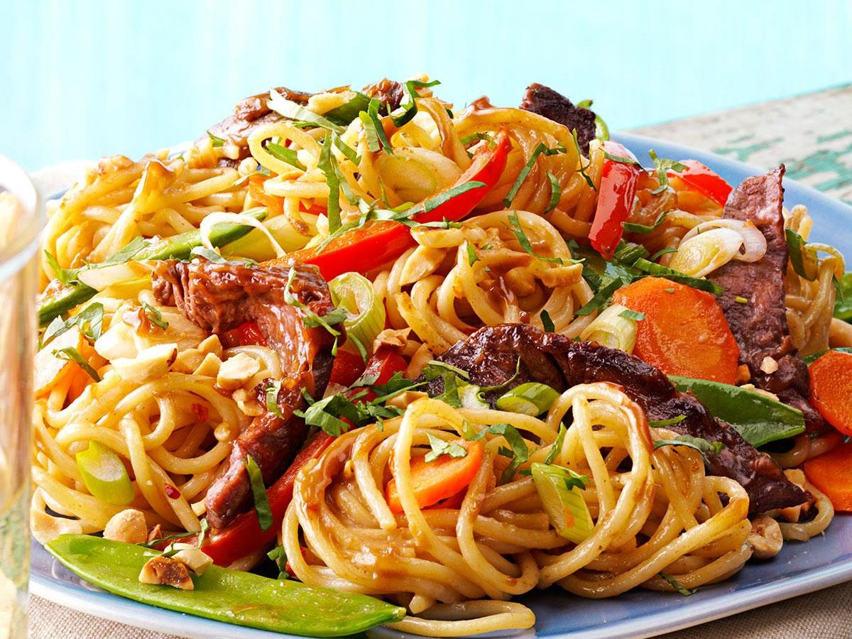Saucy Thai Beef Noodles Recipe: How to Make It   Taste of Home