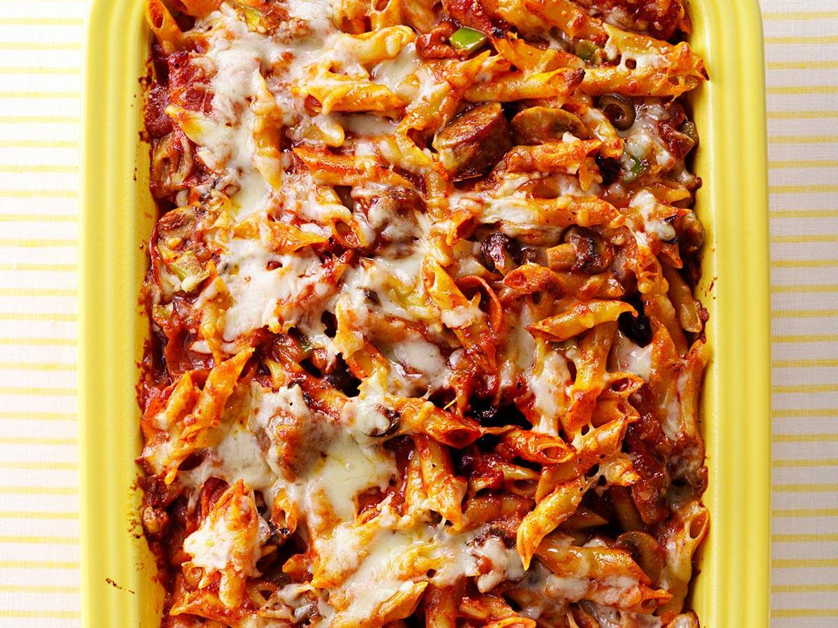 Sausage And Pepperoni Pizza Pasta Recipe How To Make It Taste Of Home