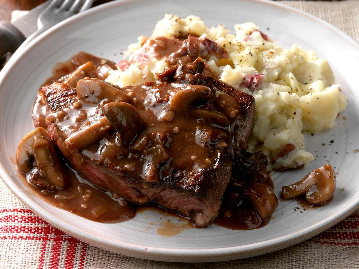Steaks With Mushroom Sauce Recipe How To Make It Taste Of Home