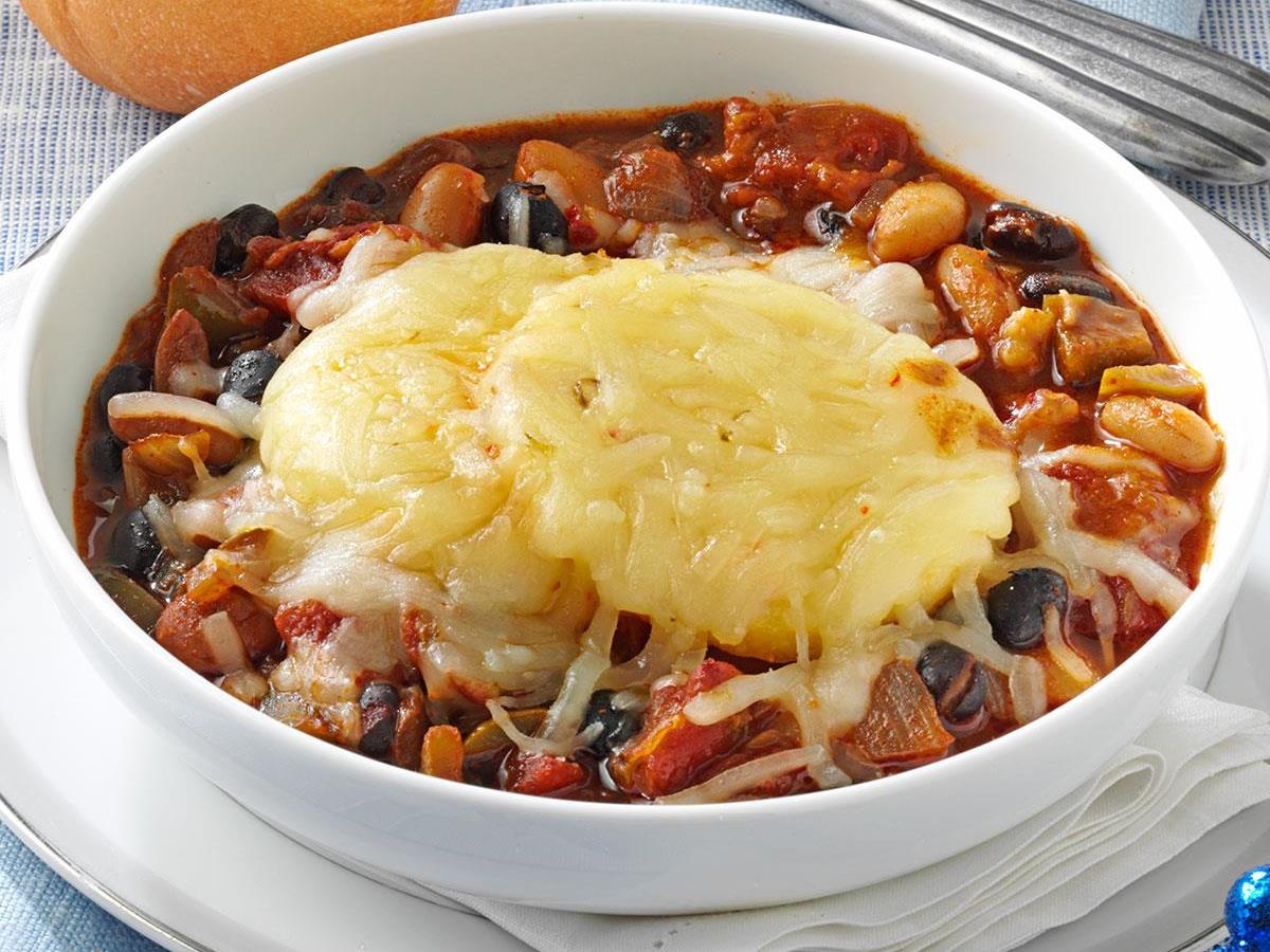 Three-Bean Chili with Polenta Crust