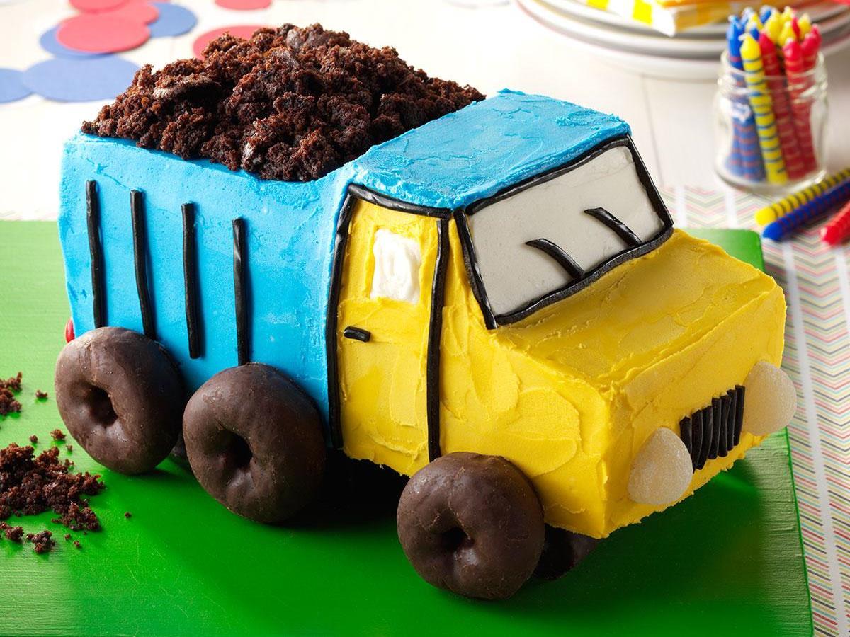 Groovy Dump Truck Cake Recipe Taste Of Home Funny Birthday Cards Online Amentibdeldamsfinfo